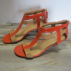 Nine West Orange & Tan summer sandals - Size 9
